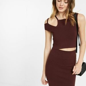Express burgundy crop top with neck detail XS
